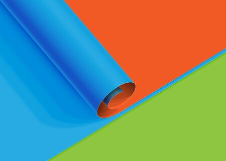 Realistic roll of colorful paper sheet, vector illustration Illustration
