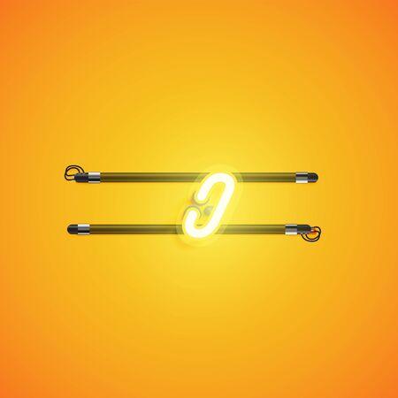 Yellow neon character, vector illustartion Vetores