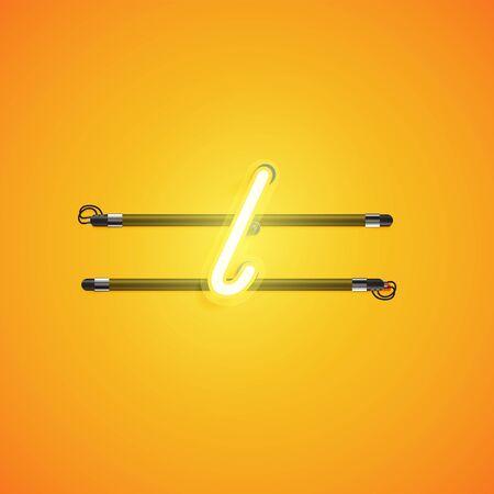 Yellow neon character, vector illustartion