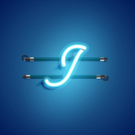 Blue coloured neon character, vector illustration