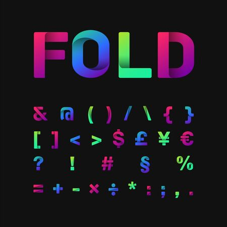 Colorful font set with three different gradient, vector illustration  イラスト・ベクター素材