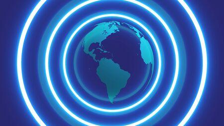 3D globe with neon circles around, vector illustration