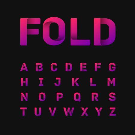 Pink paperfold typeset, vector illustartion Vektoros illusztráció
