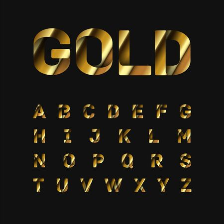 Gold folded fontset, vector illustration  イラスト・ベクター素材