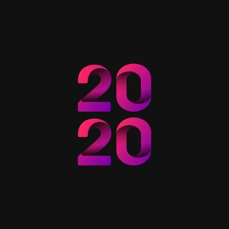 Pink and folded 2020 for the new year, vector illustration
