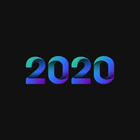 Blue and folded 2020 for the new year, vector illustration