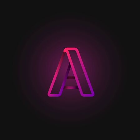 Pink folded line character from a fontset, vector illustration Ilustracja
