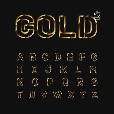 Gold folded line fontset, vector illustration