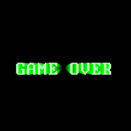 Green 'Game Over' screen on black background Vektorgrafik