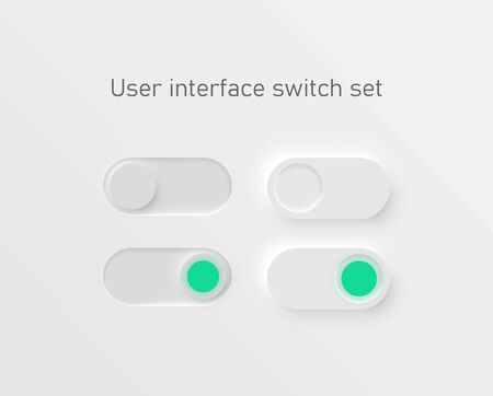 Very high detailed white user interface switches for websites and mobile apps, vector illustration