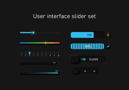 Very high detailed black user interface slider set for websites and mobile apps, vector illustration