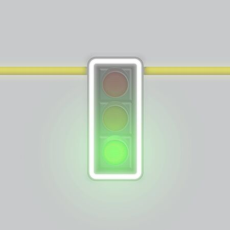 Realistic foggy traffic lamp on a pole with only green lamp glowing, vector illustration Illustration