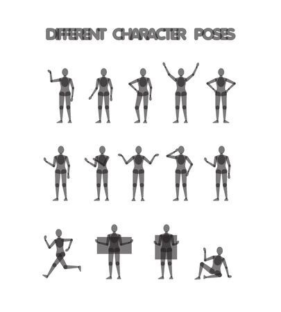 14 different character poses guide for character design illustrations, vector illustration
