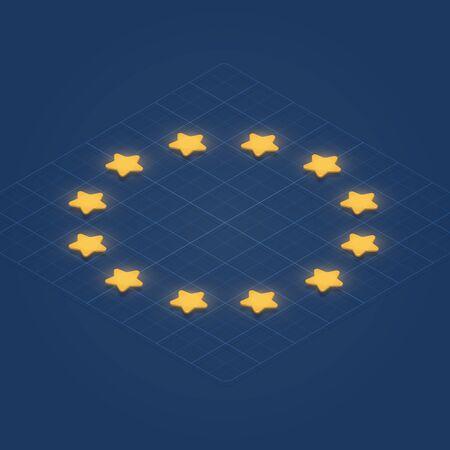 European Union flag with 3D stars on a grid, isometric vector illustration Illustration