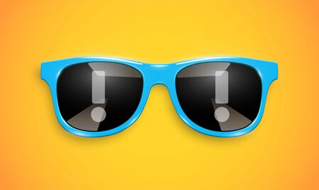 Realistic sunglasses with exclamation mark reflections on the lenses, vector illustration