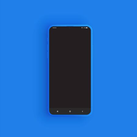 Realistic blue smartphone with UI, vector illustration Иллюстрация