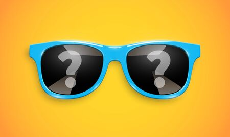 Realistic sunglasses with question mark reflections on the lenses, vector illustration