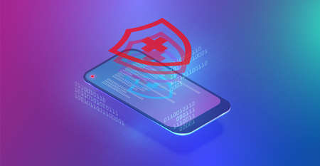 High-detailed smartphone with data or protection, isometric vector illustration 写真素材 - 153664988