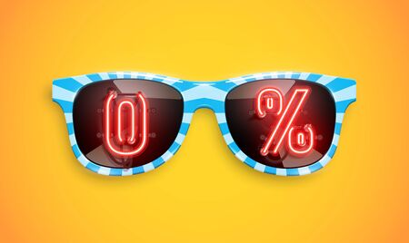 Striped realistic blue sunglasses with '0%' sale neon sign, vector illustration