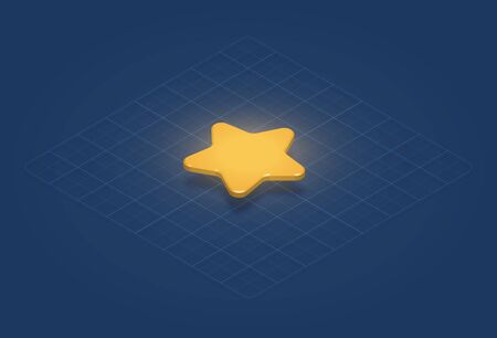 High-detailed gold star on a grid, isometric vector illustration