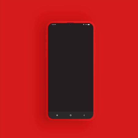 Realistic red smartphone with UI, vector illustration