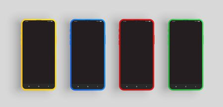 Realistic yellow, blue, red and green smartphone set with UI, vector illustration