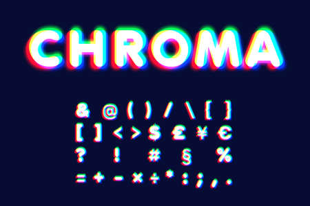 Realistic chromatic aberration font set, vector illustration