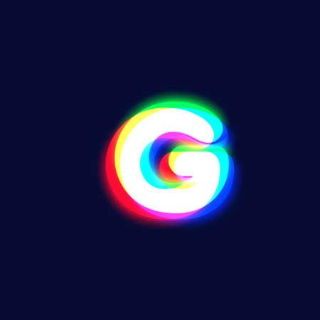 Realistic chromatic aberration character 'G' from a font, vector illustration Ilustração