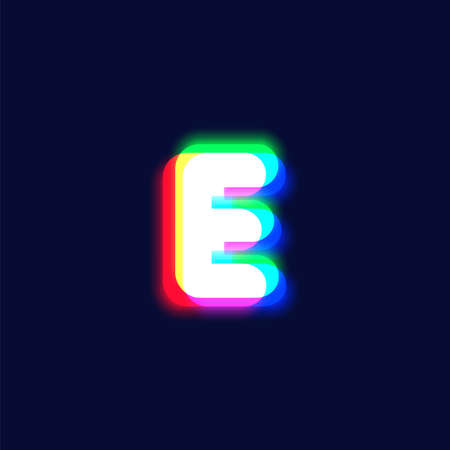 Realistic chromatic aberration character 'E' from a font, vector illustration