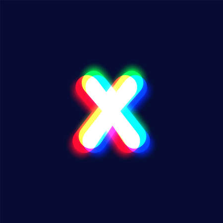 Realistic chromatic aberration character 'X' from a font, vector illustration