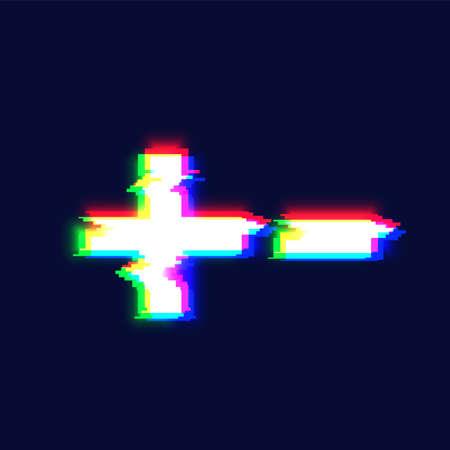 Realistic glitch font character 'plus / minus' vector illustration