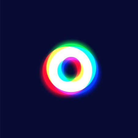 Realistic chromatic aberration character 'O' from a font, vector illustration
