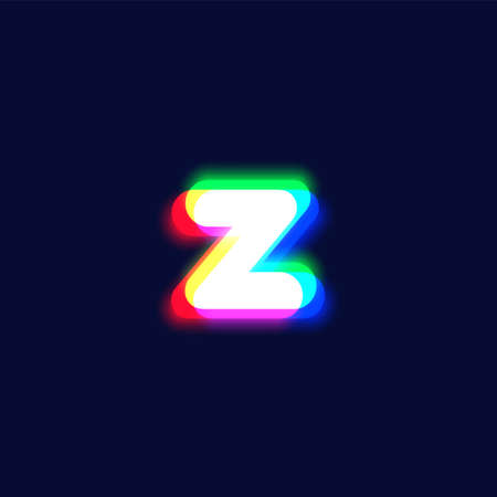 Realistic chromatic aberration character 'z' from a fontset, vector illustration