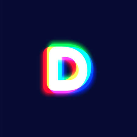 Realistic chromatic aberration character 'D' from a font, vector illustration