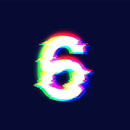Realistic glitch font character '6' vector illustration