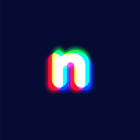 Realistic chromatic aberration character 'n' from a fontset, vector illustration  イラスト・ベクター素材
