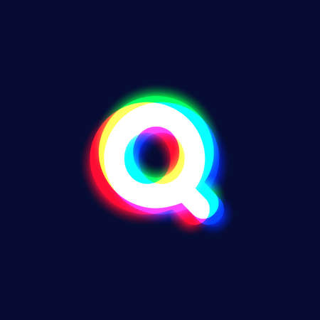 Realistic chromatic aberration character 'Q' from a font, vector illustration
