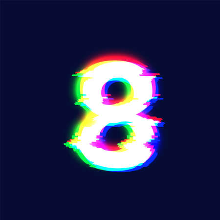 Realistic glitch font character '8' vector illustration