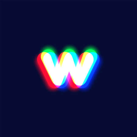 Realistic chromatic aberration character 'w' from a fontset, vector illustration