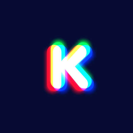 Realistic chromatic aberration character 'K' from a font, vector illustration