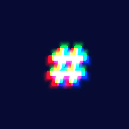 Realistic chromatic aberration character 'hashtag' from a fontset, vector illustration