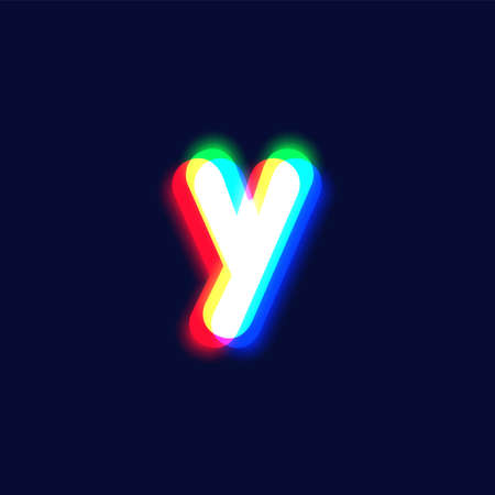 Realistic chromatic aberration character 'y' from a fontset, vector illustration
