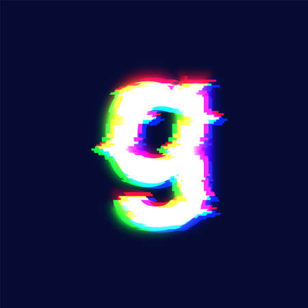 Realistic glitch font character 'g', vector illustration