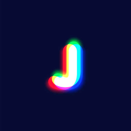 Realistic chromatic aberration character 'J' from a font, vector illustration  イラスト・ベクター素材