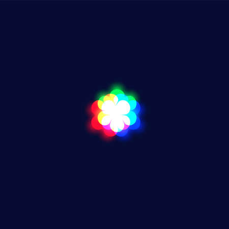Realistic chromatic aberration character 'asterisk' from a fontset, vector illustration