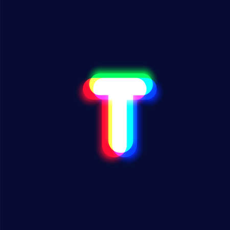 Realistic chromatic aberration character 'T' from a font, vector illustration