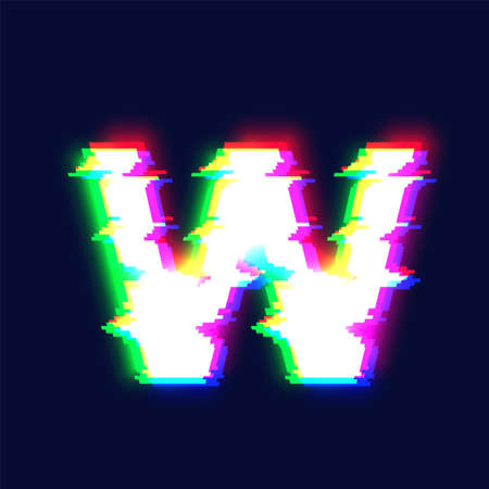 Realistic glitch font character 'W', vector illustration