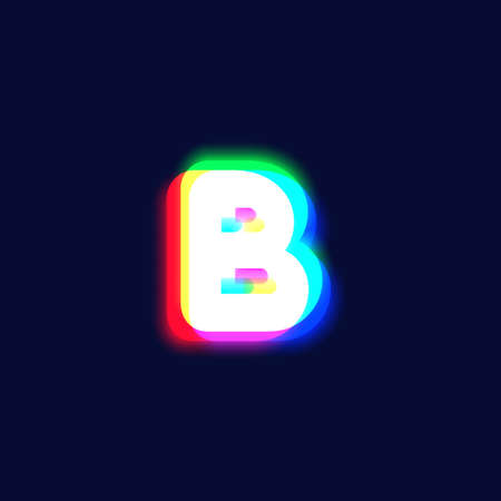 Realistic chromatic aberration character 'B' from a font, vector illustration