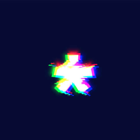 Realistic glitch font character 'asterisk' vector illustration  イラスト・ベクター素材