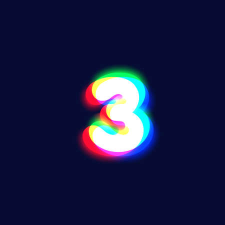 Realistic chromatic aberration character '3' from a font, vector illustration